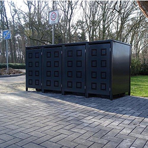 Srm-Design 4 Mülltonnenboxen Modell No5 für 240 Liter Mülltonnenkomplett Anthrazit RAL 7016witterungsbeständig durch Pulverbeschichtungmit Klappdeckel und Fronttür