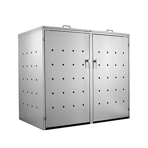 Zelsius Edelstahl Mülltonnenbox für 2 Mülltonnen je 120 undoder 240 Liter Mülltonnenverkleidung mit 2 Klappdeckel Metall Müllbox abschließbar