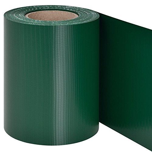 Juskys PVC Sichtschutzstreifen Zaunfolie 35m Rolle Inklusive 30 Befestigungsclips - Grün