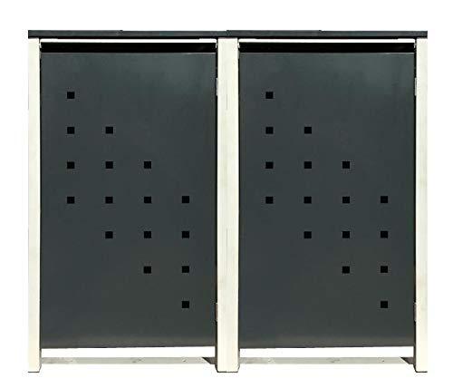 2 Tailor Mülltonnenboxen Basic Duo für 120 Liter TonneStanzung 3  Farbe RAL 7016 AnthrazitRahmen RAL 9006 hell GrauVerschönern Sie Ihre unansehnliche Mülltonnen in Ihrem Hof und Garten