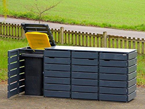 4er Mülltonnenbox  Mülltonnenverkleidung 120 L Holz Deckend Geölt Anthrazit Grau