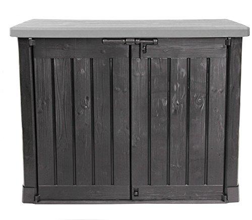 Ondis24 Max Gartenbox Möbelbox Mülltonnenbox Gerätebox Schuppen für 2 x 240 Liter Mülltonnen schwarz - grau für den Außenbereich mit Bodenplatte
