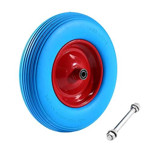 BigButterflyde Pannensicheres SchubkarrenradPU Vollgummi-Reifen 480400-8 Ø 390mm Schubkarren Reifen Ersatzrad mit Achse Blau