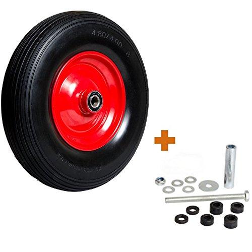 Pannensicheres Schubkarrenrad inkl Universal Achsen-Set Vollgummi-Reifen 400 mm mit Präzisions-Kugellager Universal Schubkarren-Reifen PU auf Stahlfelge mit 150 kg Traglast