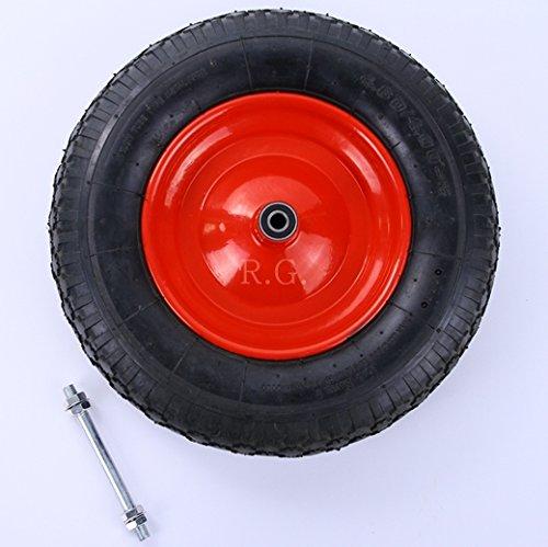 rg-vertrieb Schubkarrenrad Rad Räder Ersatzrad Luftrad Felge rot 480400-8 2PR mit Achse