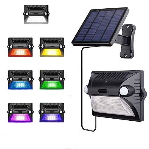 AREOUT Solar Wandleuchte AussenSicherheit Solar Betriebene Auenleuchte Wasserdichte mit Dual Bewegungssensor12 LEDRGB Farbwechsel Solarleuchten für TerrasseZaunHofGartenGarageTor