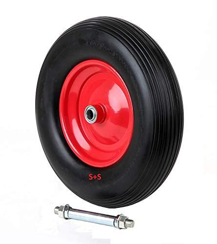 PU Rad 400-8 für Schubkarre ohne Luft Schaumgummi vollgummi 380mm mit Achse schwarz