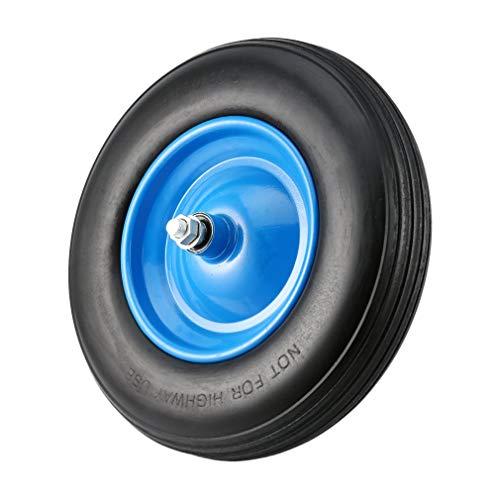 Schubkarrenrad Vollgummi PU 480400-8 Ø 390 mm 200 kg  Achse - Schubkarre Reifen Ersatzrad Pannensicher mit Achse Schwarz