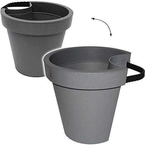 Unbekannt 5 Stück _ Rohr Stangen - Blumenkästen -  grau - schwarz  anthrazit  - RUND - 24 cm - Regenrohr  Fallrohr - Geländer  Zaun - Blumentöpfe  Pflanzkübel