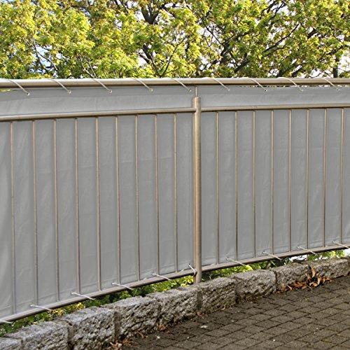 MW Handelsgesellschaft mbH Balkonsichtschutz 600x90 cm mit Kordel  25 Kabelbinder gratis Grau