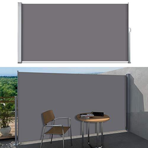 SVITA Seitenmarkise Kassetten-Rollo Sichtschutz Sonnenschutz Seitenrollo für Balkon Terrasse Garten in SchwarzGrau Beige 160 x 300 cm 180 x 300 cm 200 x 300 cm 180 x 300 cm Grau