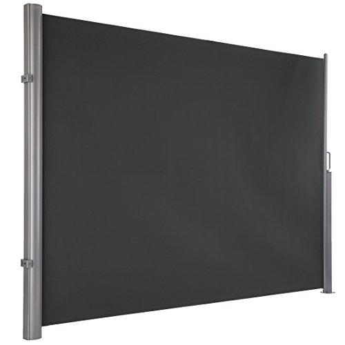 Ultranatura Maui Seitenmarkise ca 180 x 300 cm Seitenwandmarkise ausziehbar Seitenrollo Balkon Terrasse Garten Windschutz Sichtschutz robust grau