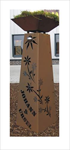 Jabo Design Rost Säule  Schale konisch RS95  S11 IHR EIGENER NAME Garten Rostsäulen Blumensäule Deko Rostsäule