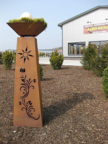 Jabo Design Rost Säule konisch  Schale RS91S11 XL Säulen Blumen Deko Garten
