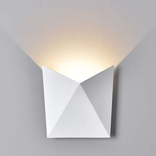 K-Bright 7W LED Wandleuchte innen Wandlampe Flurlampe3000K Warmweiß außen Wandlampe Wasserdicht IP54Modern Design aus Gips LED WandbeleuchtungAluminum AußenwandleuchtenWeiß Schale