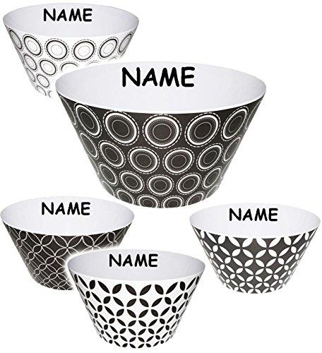 Unbekannt 3 Stück _ kleine Schalen  Kunststoffschalen  Schüsselen -  Retro Design Muster  - incl Namen - HOCH - aus Melamin  Kunststoff Plastik - für Erwachsene