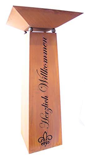 Rostikal  DekosäuleGartensäule mit Schale Höhe 115 cm Herzlich Willkommen Blumensäule