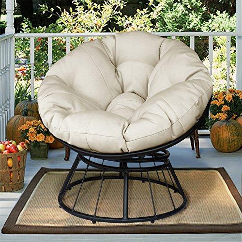 Deluxe 360 Swivel Papasan Sessel mit weichem Kissen Outdoor Terrasse Drehstuhl Glider Rocken Lounge Chair tief Platz Mond Stuhl massivem Twill-Gewebe Beige Kissen