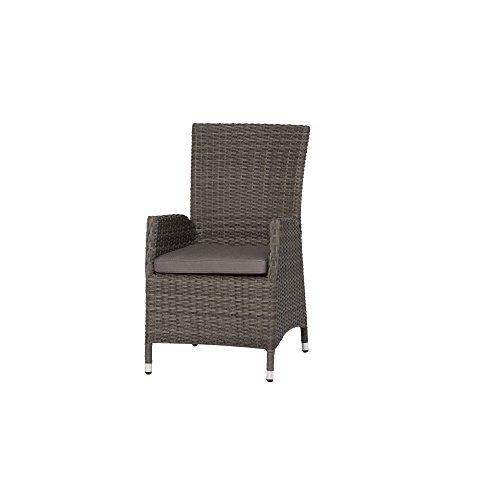 Siena Garden Dining Sessel Porto 68x60x100cm Gestell Aluminium Fläche Gardino-Geflecht in grau Kissenbezug aus Polypropylen mit 280gm² in grau