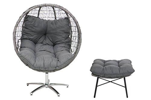 Testrut Rattan-Sessel Ei mit Fußhocker  Design Sitz-Kugel für Indoor und Outdoor Schalen-Sessel Ball inkl Kissen und Auflagen grau ca 110 x 110 x 150 cm