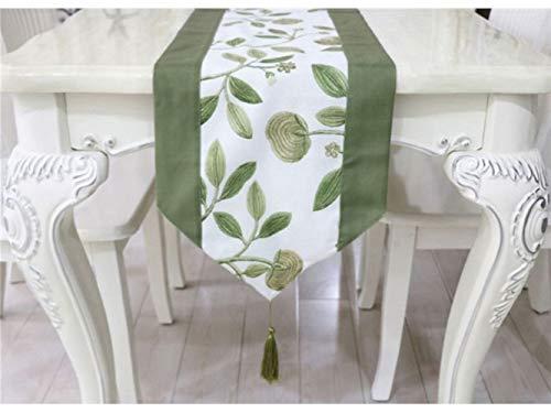 FERFERFERWON Miniatur-Verzierung Baumwolle Stickerei Tischläufer Geometrische Muster Tee Tisch Kissen Ethnischen Stil Tischfahne Bett Läufer grün Puppenhaus Dekoration