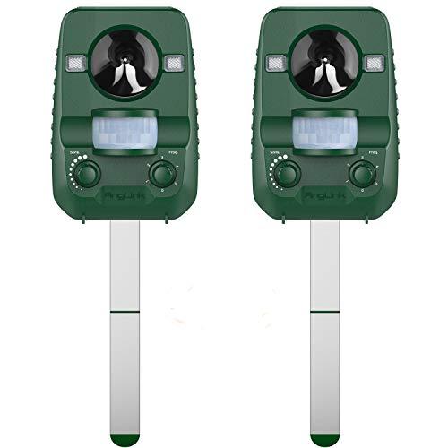 AngLink 2er-Set Solar Katzenschreck Tiervertreiber Wetterfest Ultraschall mit Batteriebetrieben und Blitz  Tierabwehr Hundeschreck und Marderschreck  Waschbärvertreiber Version 2018