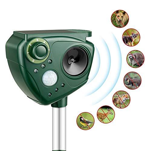 Solar Katzenschreck Ultraschall Tierabwehr mit Blitz Bewegungsmelder Wetterfest Tiervertreiber Katzenvertreiber Hundeschreck Marderschreck für Garten Rasen Hof