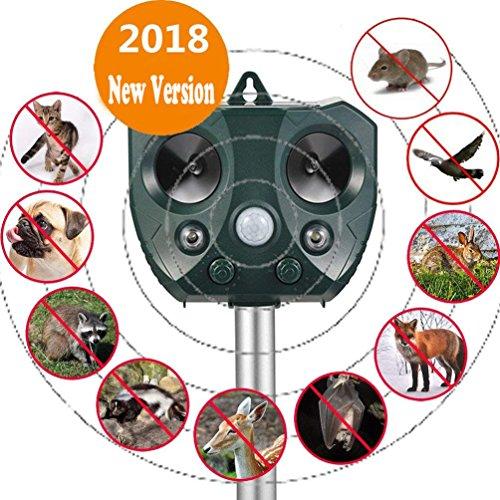 Sumeber Solar Katzenschreck Tiervertreiber Ultraschall Wetterfest mit Batteriebetrieben und Blitz  Tierabwehr Hundeschreck und Marderschreck  Waschbärvertreiber Version 2018