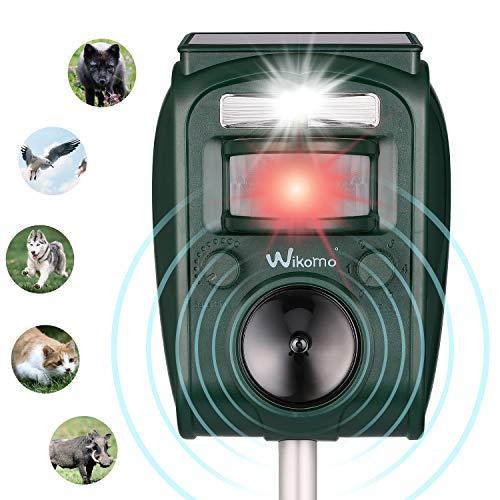 Wikomo Solar Katzenschreck Tiervertreiber Wasserdichte Ultraschall Abwehr Solar Tierabwehr5 Modus einstellbarwasserdicht Katzen Hunde Hirsch Mäuse abwehrmittel