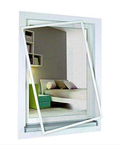 1PLUS Standard Insektenschutz Fliegengitter Aluminium Spannrahmensystem für Fenster individuell kürzbar ohne Bohren 120 x 150 cm weiß