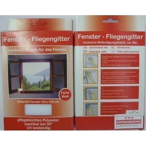 DRULINE Fenster Fliegengitter Insektenschutz Mückengitter Weiss 130x150cm 1 Stück