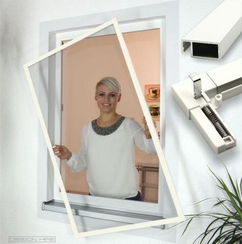 Insektenschutz Fenster Comfort mit Feder-Haken Größe 80x120cm Farbe weiß