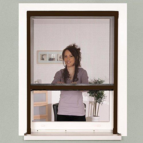 Insektenschutz Fenster Rollo 130 x 160 cm braun Alu-Bausatz Klemmrollo  Fiberglasgewebe kürzbar ohne Bohren stufenlos arretierbar