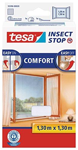 tesa Insect Stop COMFORT Fliegengitter für Fenster - Insektenschutz mit Klettband selbstklebend - Fliegen Netz ohne Bohren - Weiß 130 cm x 130 cm
