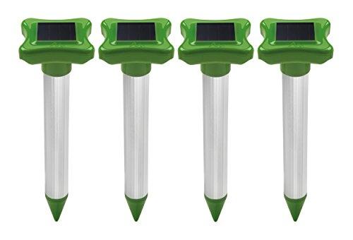 Gardigo Maulwurfschreck Solar 4er Set  Maulwurfabwehr  Maulwurfvertreiber mit Alu-Stab  Wühlmausvertreiber für den Garten