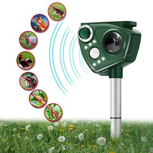 Focuspet Marderschreck Upgrade Katzenschreck Ultraschall Tiervertreiber mit Solar Blitz Akku für Hunde Katze Eichhörnchen Ratte Waschbären usw