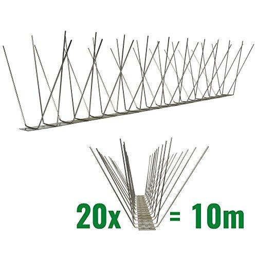 10 Meter Taubenspikes 4-reihig auf V2A-Standard - hochwertige Lösung für Vogelabwehr Taubenabwehr Edelstahl Spikes