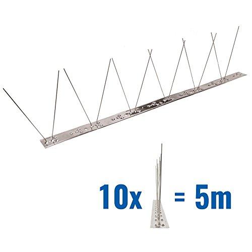 5 Meter Taubenspikes 1-reihig auf V2A-Flexleiste - hochwertige Lösung für Vogelabwehr Taubenabwehr Edelstahl Spikes