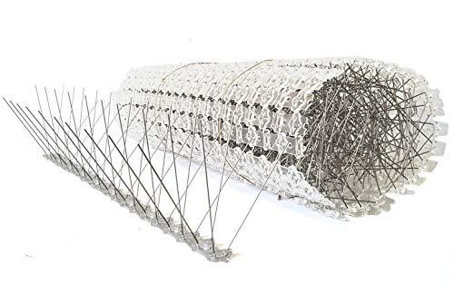 10 Meter Vogelabwehr Taubenabwehr 4-reihig 20 Elemente a 50 cmTaubenspikes aus Edelstahl auf UV-geschützter Polycarbonatleiste