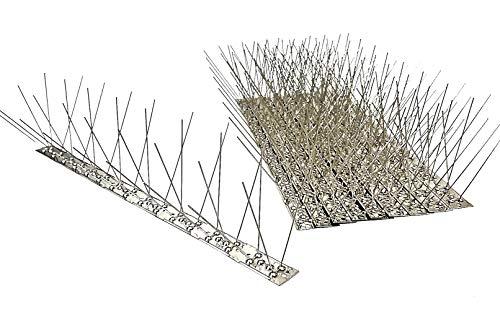 10 Stück 5 m Taubenspikes 4 reihig auf 50 cm Edelstahlleiste Taubenabwehr Vogelabwehr - DIREKT VOM HERSTELLER
