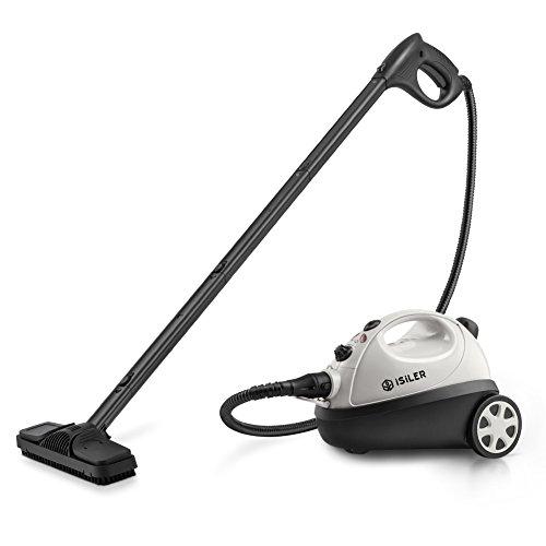 ISILER Dampfreiniger mit 20 Zubehörteilen elektrischer Dampfreiniger 1500W mit Überhitzungsschutz Sicherheitsverrieglung Dampfente Dampfreinigungsgerät für Bad Fliesen Boden Teppich Autositze