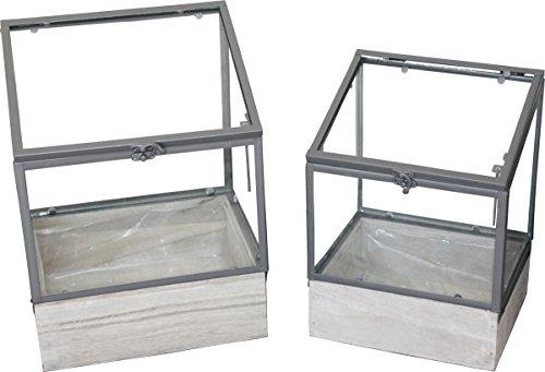 Gewächshaus-Set 2tlg MetallGlasHolz