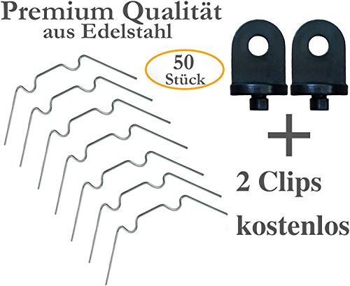 KRONLY 50 Stück Gewächshaus Klammern aus Edelstahl ✔ rostfrei ✔ sturmfest ✔ kompatibel Set für Hohlkammerplatten Doppelstegplatten Gewächshausklammern  2 Gewächshausclips gratis