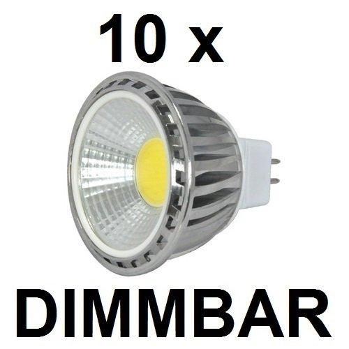 10 x 5 Watt COB LED-Spot ALU GU53  MR16 DIMMBAR 12V ACDC Retrofit Warmweiß 2700K 500 Lumen entspricht ~50 W Halogenspot 90° Ausstrahlung