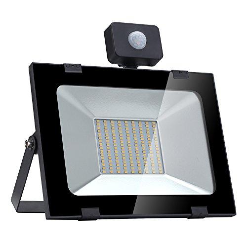100W LED Strahler mit Bewegungsmelder LED Fluter 10000LM 3200K Wandleuchte Aussen für Garten Garage Sportplatz oder Golfplatz 100W Warmweiß