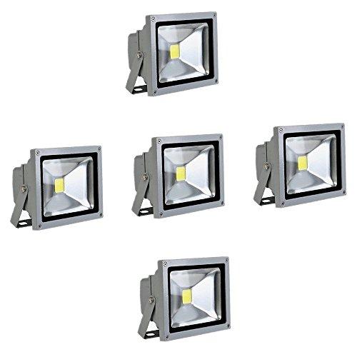 SAILUN 10W LED Fluter Warmweiß Strahler Licht Scheinwerfer Außenstrahler Wandstrahler Aluminium IP65 Wasserdicht 5 Stück Silber