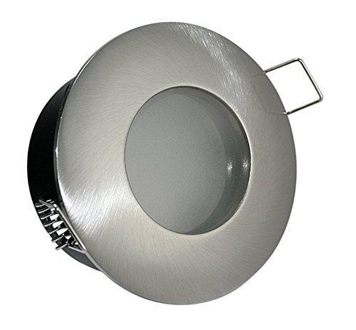 5er Set Power LED Bad Einbauleuchte Aqua IP65 230V GU10 edelstahl-gebürstet  Power LED 5 Watt in warmweiß auch für den Aussenbereich geeignet