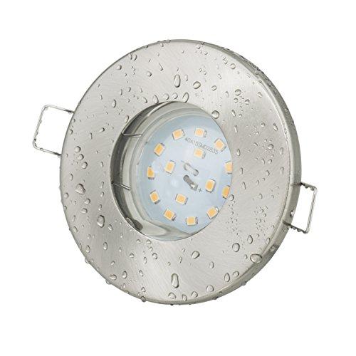 Einbaustrahler Aqua IP65  230Volt GU10 5Watt LED Leuchtmittel warmweiss - 430Lumen  Bad - Sauna - Vordach - Keller - Nass- Feuchtraum