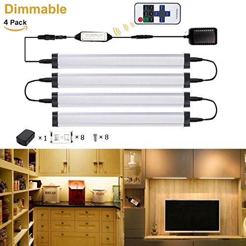 GreenSun LED Lighting 5W 50cm Alu Slim Line Warmweiß 4er Led Unterbauleuchte dimmbar Lichtleiste Strip Möbelleuchte Schranklampe mit 11 Taste Fernbedienung für Küche Möbel Schrank Vitrinenbeleuchtung