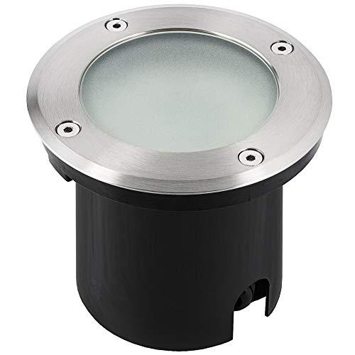 LED Bodeneinbauleuchte MARNE für Aussen IP65 Bodenstrahler in rund Edelstahl gebürstet inkl dimmbarem LED GU10 5W warmweiß